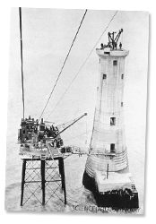 The last stone being laid during the construction of the Beachy Head Lighthouse on 25th February 1902