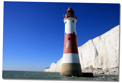 The Beachy Head Lighthouse taken off Beachy Head with the Belle Tout Lighthouse in the distance
