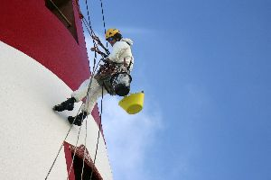 Hugh abseil painter at the Beachy Head Lighthouse