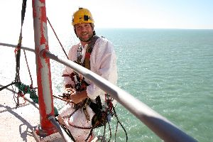 Ian abseil painter at the Beachy Head Lighthouse