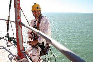 Ian abseil painter at the Beachy Head Lighthouse