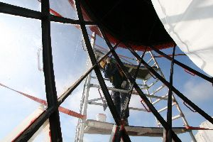Painting the lantern of the Beachy Head Lighthouse
